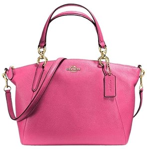 Coach Kelsey Pebbled Leather Satchel in Dahlia Pink