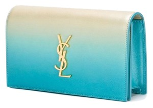 Saint Laurent Champagne/Blue Ombre Clutch