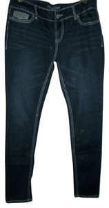 Maurices 5 Pockets Belt Loops Heavy Stitching Bling On Back Pkts Skinny Jeans-Medium Wash