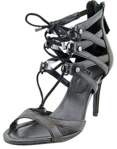 Marc Fisher Leather Strappy Tie Black Sandals