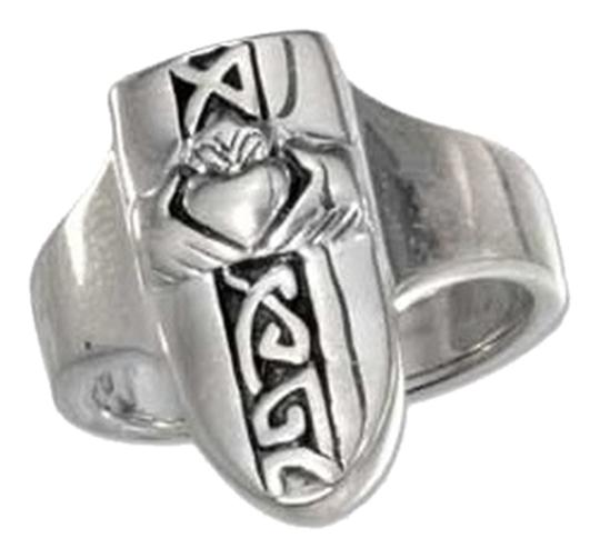 unknown Sterling Silver Heart in Hands Ring with Celtic Knots