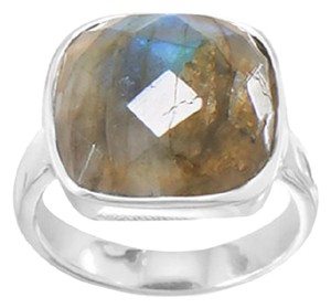 Sterling Collections Sterling Silver Checkerboard Cut Labradorite Ring (available sizes 5-11)
