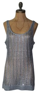 Anthropologie Sparkled Open Knit Top BLUE