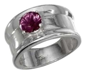 unknown Sterling Silver Round Amethyst Band Ring