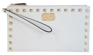 Michael Kors Saffiano Leather Gold Stud Optic White Clutch