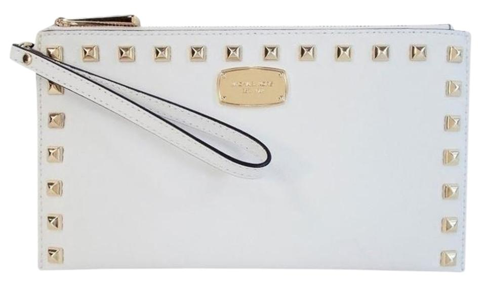 51468f2c9578 Michael Kors Saffiano Gold Studded Zip Purse Optic White Leather ...