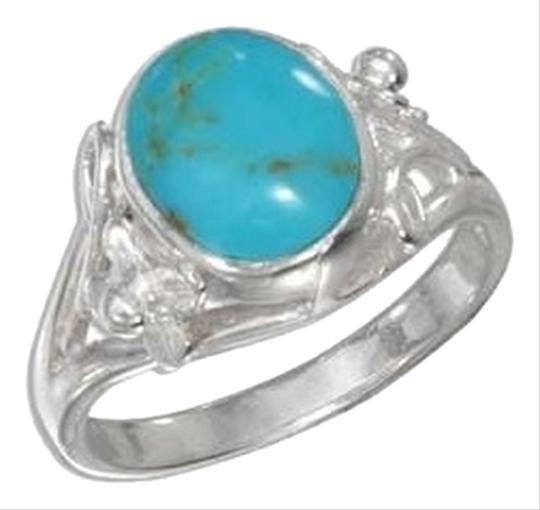 unknown Sterling Silver Oval Turquoise Ring with Small Flower Scrolled Shank