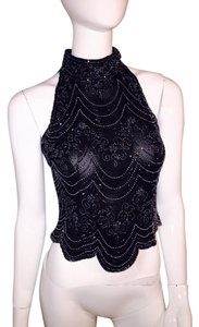 Adrianna Papell Top black beaded