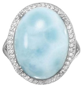 Large Rhodium Plated Sterling Silver Oval Larimar and CZ Ring (available szes 6-11)