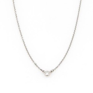 Tiffany & Co. Tiffany Co Elsa Peretti Diamond By The Yard Platinum Solitaire Necklace