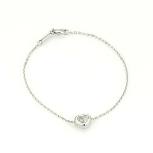 Chopard Chopard Happy Diamond 18k White Gold Heart Charm Chain Bracelet