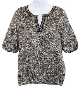 East 5th Essentials Tan Brown Ivory Animal Print Silver Bead Bottom B01 Top