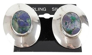 Dr. Martens Dr Sterling 1x 1.5 Oval Blue Green Cabochon Center Pierced Earrings Bj04