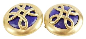 Other Goldtone Lapis Center 1.75 Round Clip On Fashion Earrings Bj04