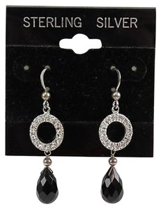 Sterling Silver 9.25 Round Rhinestone Jet Drop Dangle Earrings Bj04