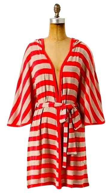 Item - Orange/Red and Tan Wendy Glez Robe with Hood Cover-up/Sarong Size 4 (S)