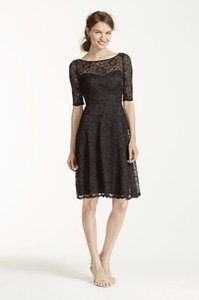 David's Bridal Tarragon Short Lace Dress With Illusion Neck And Sleeves Dress