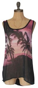 Anthropologie Palm Print Cut Out Top MULTI COLOR