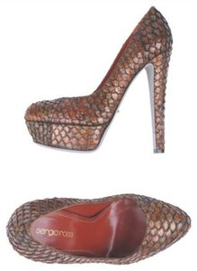 Sergio Rossi Python Snakeskin Platform Leather Brown Pumps