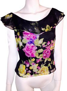 Kay Unger Top multi colored flowers on black