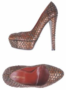 Sergio Rossi Python Snakeskin Leather Brown Pumps