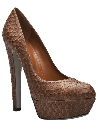 Sergio Rossi Python Snakeskin Leather Platform Brown Pumps