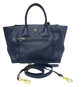 Prada Leather Tote Satchel in navy blue