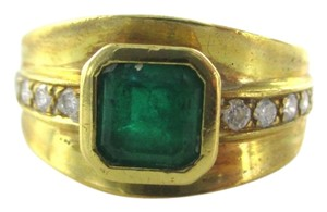 18KT SOLID YELLOW GOLD RING 10 DIAMONDS .20 CARAT SZ 7 STONE EMERALD FINE JEWEL