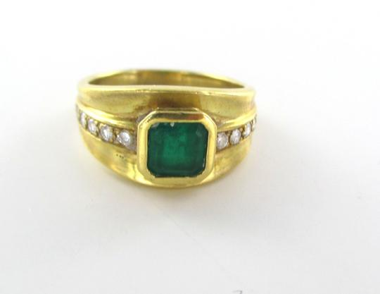 Other 18KT SOLID YELLOW GOLD RING 10 DIAMONDS .20 CARAT SZ 7 STONE EMERALD FINE JEWEL