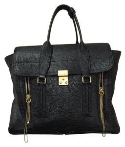 3.1 Phillip Lim Leather Edgy Designer Textured Leather Satchel in Black