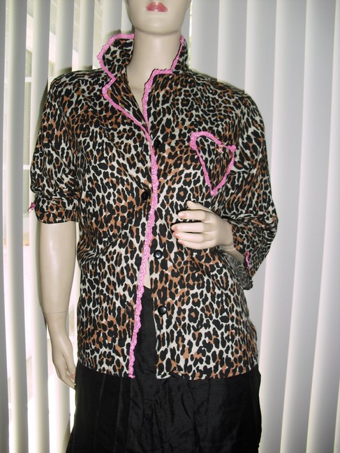 Betsey Johnson Top brown black pink