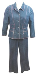 Escada ESCADA TONAL STITCHING STRETCHY BLUE DENIM COTTON BLEND PANT SUIT 40