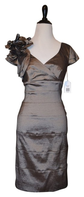 jessica simpson taupe shimmer above knee cocktail dress size