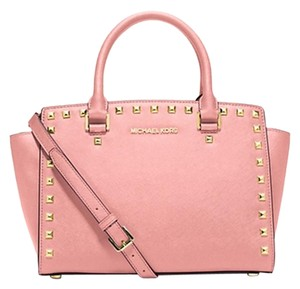 Michael Kors Studded Selma Mk Satchel in Pale Pink/Gold