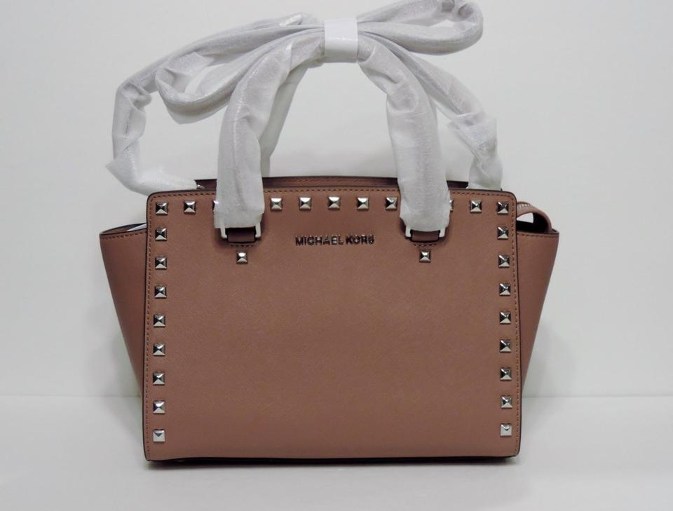 f737eb9c39d0 Michael Kors Studded Selma Mk Selma Mk Satchel in Dusty Rose Silver Image  8. 123456789