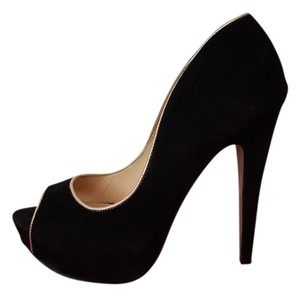 Classique Entier Peep Toe Platform Stiletto Leather Sexy Black gold Pumps