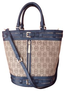 Michael Kors Mk Logo Tote in Khaki with Navy Blue Leather trim