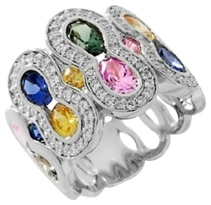 Victoria Wieck Victoria Wieck 5.33ct Absolute and Created Colors of Sapphire Band Ring - Size 5