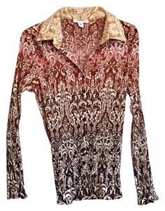 Dress Barn Button Down Shirt Brown, Gold & Red