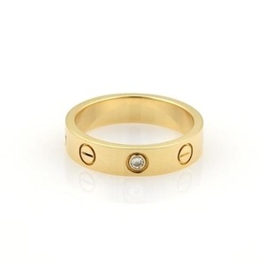 Cartier Cartier Mini Love 1 Diamond 18k Yellow Gold 4mm Band Ring Eu 47-us Cert