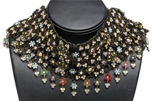 Etincelle Couture Etincelle Couture Brass Multicolor Rhinestone Beaded Floral Choker Necklace