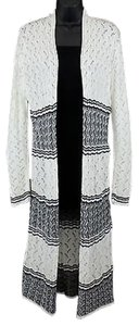 Ceny Ivory Black Accent Open Sweater