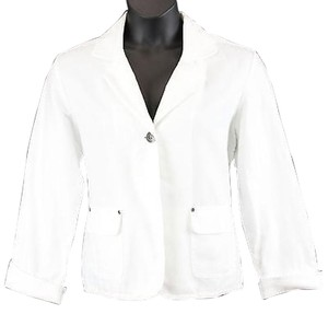 Chico's Chicos White Herringbone Texture Lightweight Single Button Blazer B119