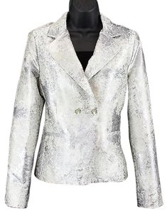 CAbi Cabi 657 Pearl White Silver Metallic Textured Double Breasted Blazer B115