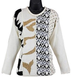 Other Ann Wi Cream Black Gold Ls B115 Sweater