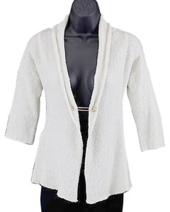 Charlotte Russe Charlotte Cream Gold Pin Closure Draped Collar Nubby Knit Cardigan B112 Sweater