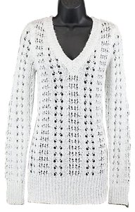 Maurices Pearl White Silver Metallic Ls B112 Sweater