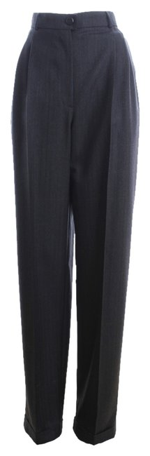 Chanel Size 42 Bag Trouser Pants Dark Grey