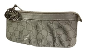 Gucci Leather Mongram Wristlet in Silver
