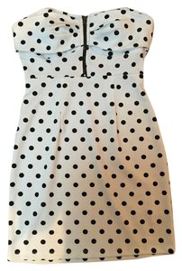 Forever 21 short dress White with Black Polka Dots Dot Zipper Detail on Tradesy